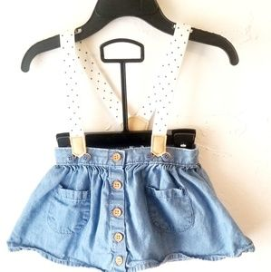 Oshkosh B'gosh suspender denim skirt bonus tights